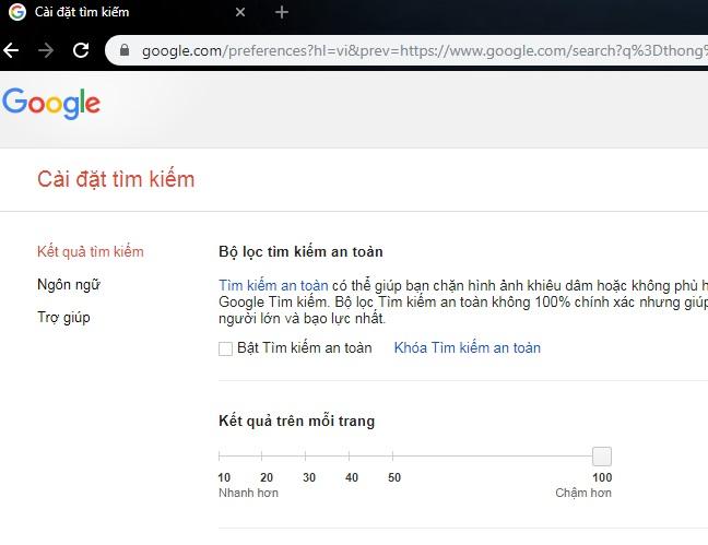 chọn 100 tìm kiếm google